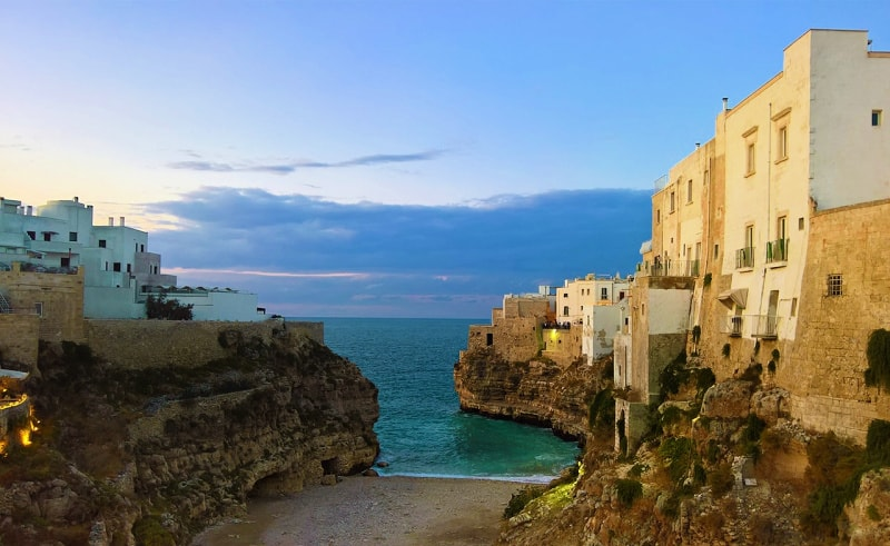Polignano a Mare is a town on Italy's southern Adriatic coast.
