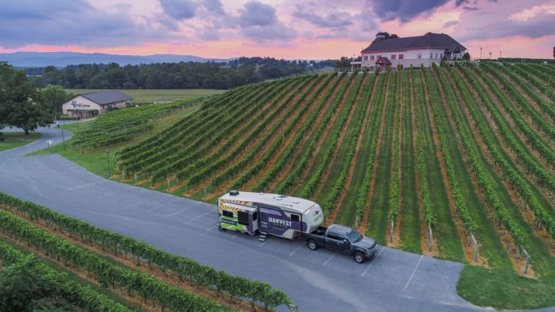 The RVing dream: RV camping on a winery at sunset!