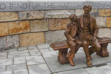 "The United States Historical Society commissioned the bronze life-sized statue and donated it to the National Park Service. It is located at the Tredegar site of the Civil War Visitor Center in Richmond, Virginia, where the President came in peace ""to bind up the nation's wounds"" at the end of the Civil War."