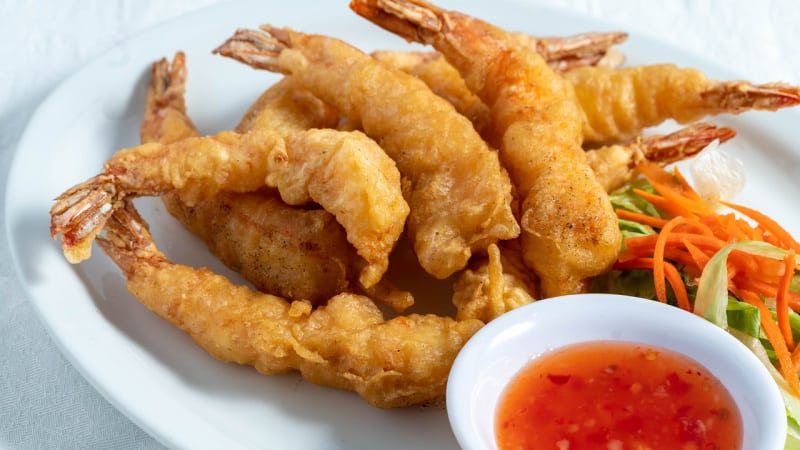 Another one of many Japanese foods to try is tempura, pieces of lightly battered, deep fried seafood and vegetables.