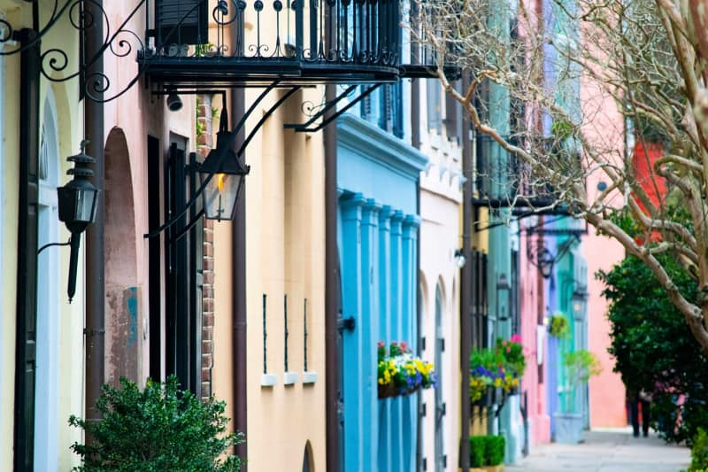 Rainbow Row is the name for a series of thirteen colorful historic houses in Charleston, South Carolina.