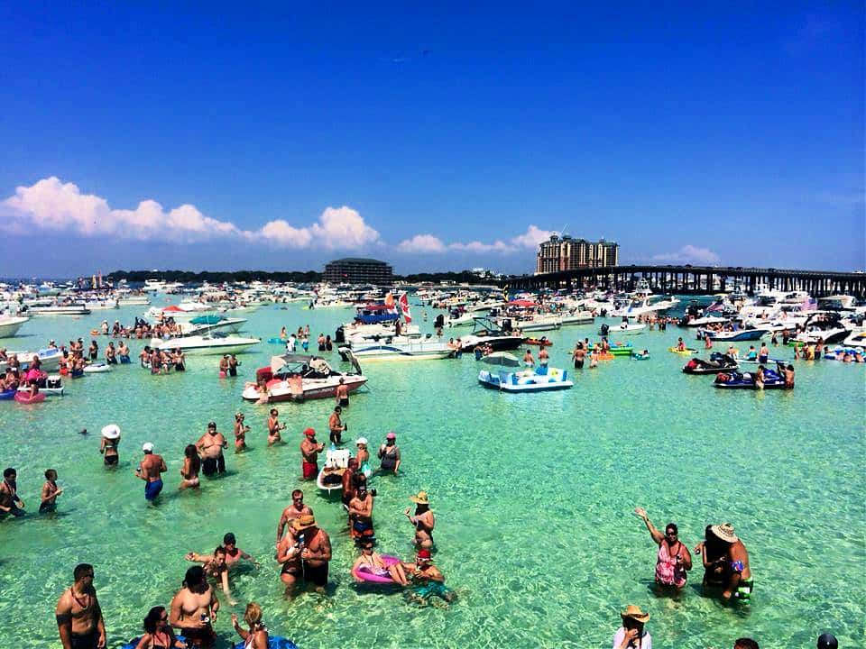 Crab Island, Florida, is actually NOT an island, but a sandbar in the shallow waters of the Gulf Mexico.